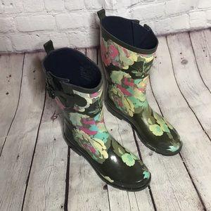 FY camo green floral rain boots